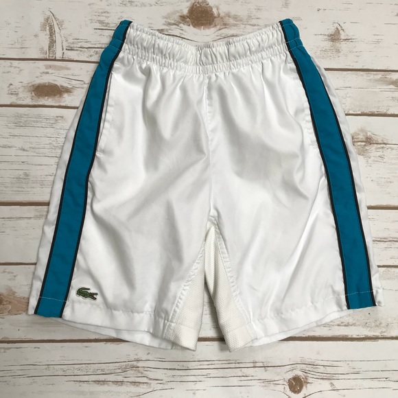 4232f33e654cc Lacoste Other - LACOSTE White Shorts blue stripe Size 6